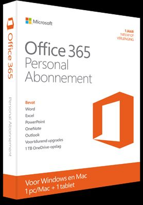Microsoft Office 365 Personal 1-PC/MAC + 1 Tablet 1 Jaar