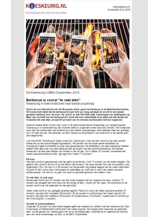 persbericht Barbecue Graadmeter 2016 onderzoek Kieskeurig.nl