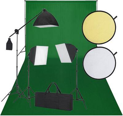 vidaxl fotostudio set met green screen 3 daglichtlampen kopen