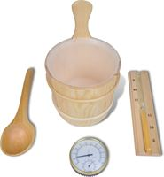 vidaXL Sauna accessoires: emmer + opgietlepel, zandloper, thermo-vochtmeter