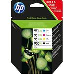 HP 950XL originele zwarte/951XL cyaan/magenta/gele inktcartridges, 4-pack