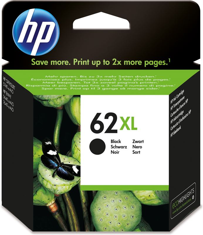HP 62XL originele high-capacity zwarte inktcartridge