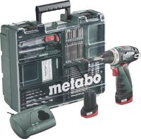 Metabo Accu-schroefboormachine 10.8 V 2 Ah Li-ion incl. 2 accu's, incl. koffer, incl. accessoires