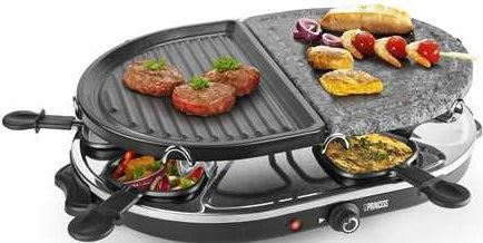 Princess 162710 Raclette 8 Oval Stone & Grill Party