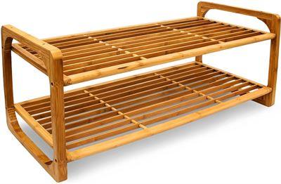 Rek Voor Schoenen.Relaxdays Schoenenrek Bamboe Hout Houten Schoenenplank