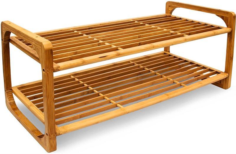 Relaxdays schoenenrek bamboe hout houten schoenenplank rek
