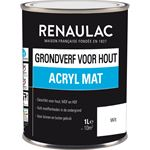 Renaulac grondverf voor hout acryl mat 1 L wit