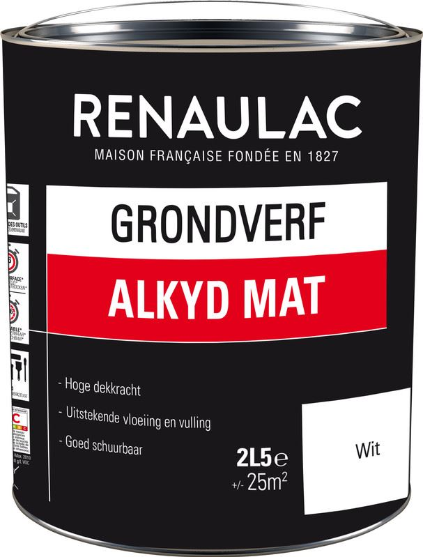 Renaulac grondverf alkyd mat 2.5L wit