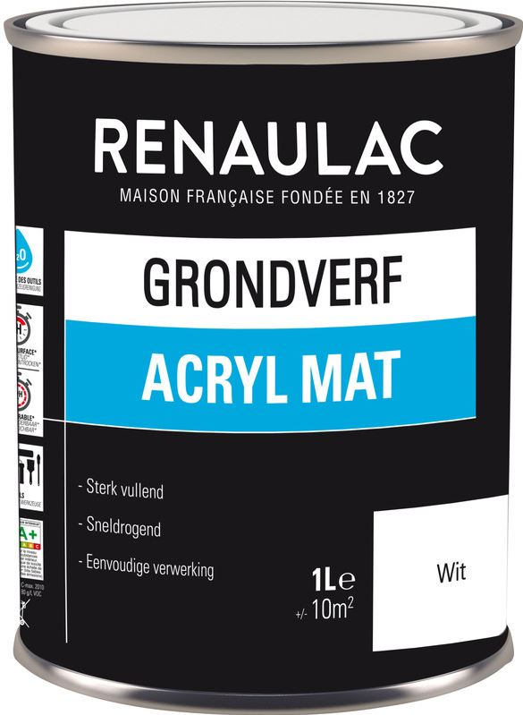 Renaulac grondverf acryl mat 1L wit