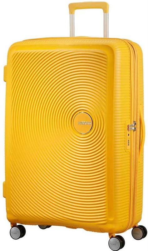 ceb94e6f672 American Tourister Soundbox Spinner 77 Expandable golden yellow Harde Koffer  Geel