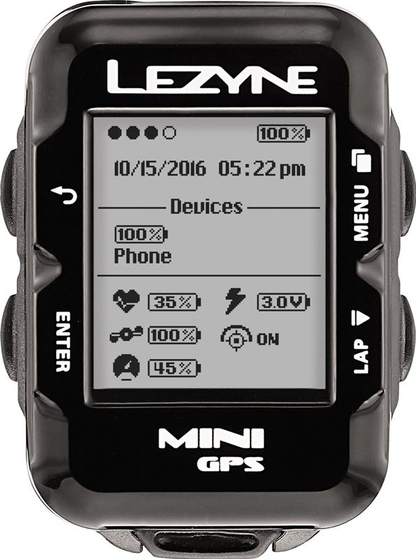 Lezyne Mini GPS HR Loaded - Fietscomputer - Incl. Hartslagsensor - 29 gram - Zwart