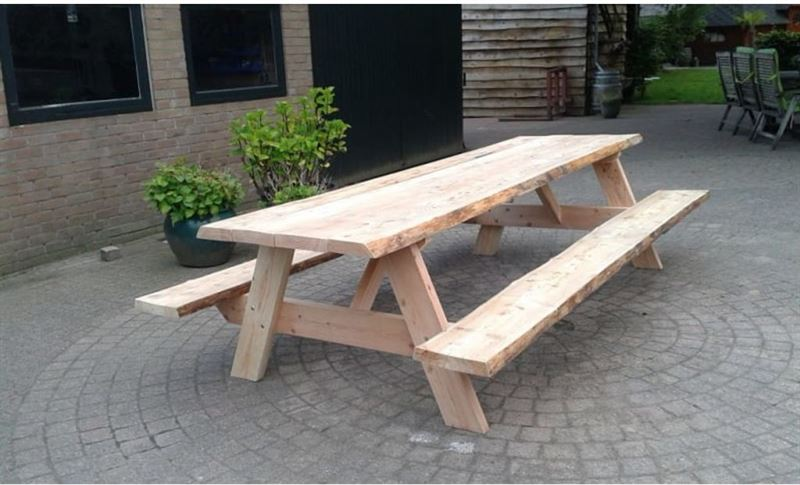 Not specified boomstam picknicktafel- met vaste banken- 180x80