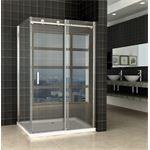 Praya Shower Douchedeur met zijwand 120x90x200cm chroom 8mm dik NANO glas