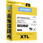 DYMO XTL tape ft 24 mm zwart op wit vinyl