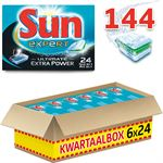 Sun All In 1 Extra Power - 144 stuks - Vaatwastabletten - Kwartaalbox