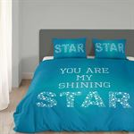 Good Morning 1 persoons dekbedovertrek 4728-P met sterren - You are my shining star - turquoise (140x200/220 cm + 1 sloop