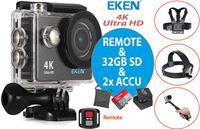 Eken Action Camera H9R 4K + Afstandsbediening + Wifi + 23 access & 12MP foto met OmniVision Chipsensor 4689 + Sandisk 32GB SD + Extra Accu + Borstband + Hoofdband + Selfie Stick