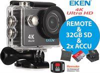 Eken Action Camera H9R 4K Ultra HD + Afstandsbediening + Wifi + 23 access & 12MP foto met OmniVision Chipsensor 4689 + Sandisk 32GB SD + Extra Accu + Waterproof bag