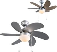 QAZQA Fresh 30 Plafond ventilator met lamp 1 lichts mm grijs