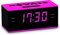 BigBen Interactive Strakke wekkerradio met roze verlichting - zwart / roze