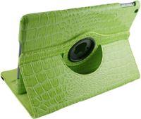 Betaalbare Hoesjes iPad Air 1 - 360 Graden draaibare Hoes - krokodillen / Crocodile Lederen - Groen