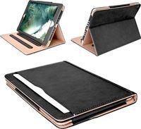 iCall Apple iPad 9.7 2017 / 2018 - Hoesje Leer Volledige 360 Graden Bescherming Zwart met Luxe Nude Binnenkant Hoes - Smart Bookcase voor iPad 9.7 2017 Case Cover Hoesje