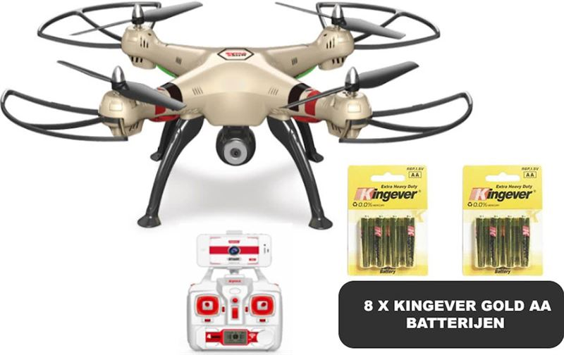 SYMA X8HW Wifi FPV CAMERA DRONE hover mode + 8 stuks Kingever Gold Batterijen