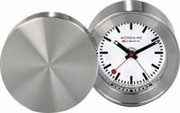 Mondaine MSM.64410 Travel Alarm Clock - Reiswekker - Metaal - Zilverkleurig - Ø 50 mm