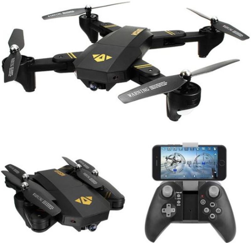 Visuo RC drone XS809H-W-HD-G inclusief 3 batterijen met FPV Wifi met Wide Angle HD camera quadcopter