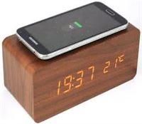 Beactiff Houten wekker Houten Qi charger Houten klok - Bruin Draadloze oplader lader <gt/> Samsung S6 S6 plus S7 S8 S9 iPhone 8 X 8 plus LG G3 Nexus 4 Nexus 5 Nexus 6 Nokia 920 Nokia 822 etc b