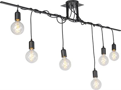 QAZQA Facile Grote hanglamp 6 lichts L 1500 mm zwart