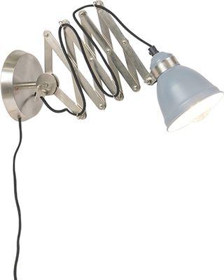 QAZQA Industriele wandschaarlamp geborsteld staal met grijs Avera