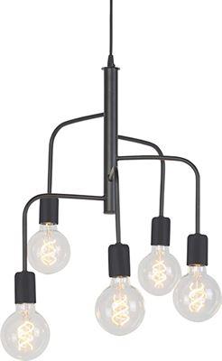 QAZQA Facile Hanglamp 5 lichts à ˜ 400 mm zwart