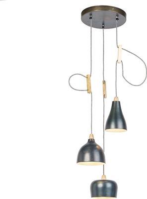 QAZQA Vidya Hanglamp 3 lichts à ˜ 350 mm blauw