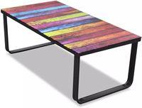 vidaXL Glazen salontafel met regenboogprint