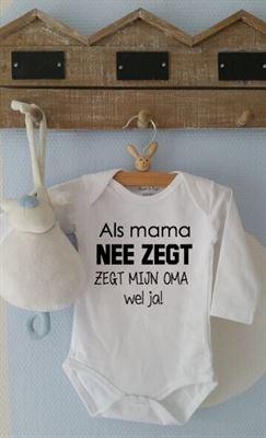 48ac5133580 Maison Marcella Rompertje Als mama nee zegt zegt mijn oma wel ja Lange mouw  wit maat