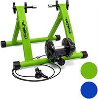 Relaxdays Fietstrainer thuis - Hometrainer fiets binnen - Snelspanner - 7 standen - Staal blauw