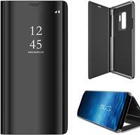 iCall Samsung Galaxy S9 - Lederen Spiegel Wallet Hoesje Zwart met Siliconen Houder - Portemonee Hoesje
