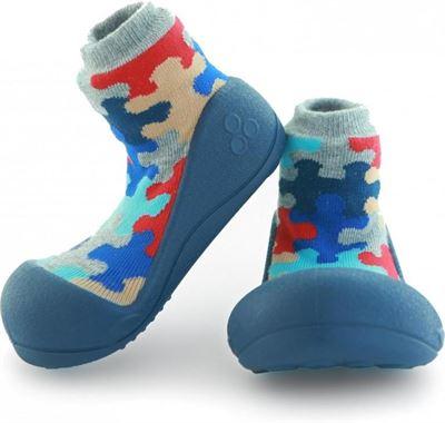1407be6aaed Attipas Puzzle blauw babyschoenen ergonomische Baby slippers slofjes maat  22 5 18-30 maanden
