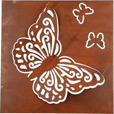 Muurdecoratie Buiten Metaal.Bdo Metalen Roestkleurig Wandpaneel Met Vlinders Voor Binnen En