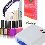 Evvie.nl Gel nagellak set - gellak start pakket - met 36 Watt UV nagel lamp – nageldroger met 4 kleuren gelpolish met gratis compacte 9 Watt UV LED lamp voor onderweg