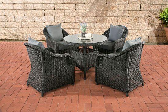 Clp poly rotan wicker tuin zitgroep farsund 4 stoelen 1 tafel rond Ã