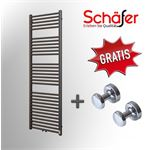 Schafer Design Schafer - Design Handdoek Radiator Antraciet Middenaansluting - B400 x H1000