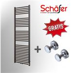 Schafer Design Schafer - Design Handdoek Radiator Antraciet Middenaansluting - B600 x H1000