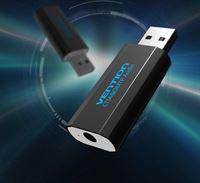 Vention 3D USB externe geluidskaart naar 3.5mm audio microfoon AUX adapter - Zwart