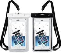Mmobiel 2X Waterdichte Telefoon Hoes / Waterproof Bag / Case / Pouch / Zak - Universeel - Geschikt voor Alle Smartphones - tot 6 Inch - Volledig Transparant - iPhone / Samsung / Huawei - 2 Stuks Zwart & Wit