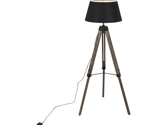 Vloerlamp met houten driepoot: vloerlamp carbon globosplaza. tripod
