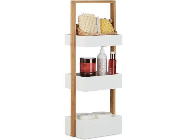 Relaxdays badkamerrek klein houten rek met 3 manden wit