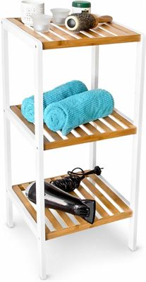 Relaxdays Badkamerkast Bamboe Hout Wit 3 Pl Badkamermeubel