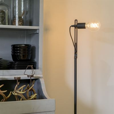 QAZQA Moderne strakke vloerlamp zwart Slide verlichting